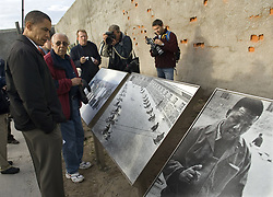Aug. 20, 2006 - U.S. - U.S. Sen. Barack Obama (D-Ill.) tours Robben Island, South Africa with Ahmed Kathrada, background, Sunday, August 20, 2006. Robben Island, off the coast of Cape Town, is where Nelson Mandela was imprisoned as was Kathrada who was prisoner #468. (Pete Souza/Chicago Tribune/TNS) (Credit Image: © Pete Souza/TNS/ZUMAPRESS.com)