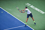 MILOS RAONIC hits a backhand during his second round match at the Citi Open at the Rock Creek Park Tennis Center in Washington, D.C.