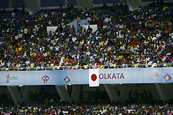 October 14, 2017 - Kolkata, West Bengal, India - Japanese flag at the stadium during the Japan and New Caledonia Group E match in Kolkata.Player of Japan and New Caledonia in action during the FIFA U 17 World Cup India 2017 Group F match on October 14, 2017 in Kolkata. (Credit Image: © Saikat Paul/Pacific Press via ZUMA Wire)