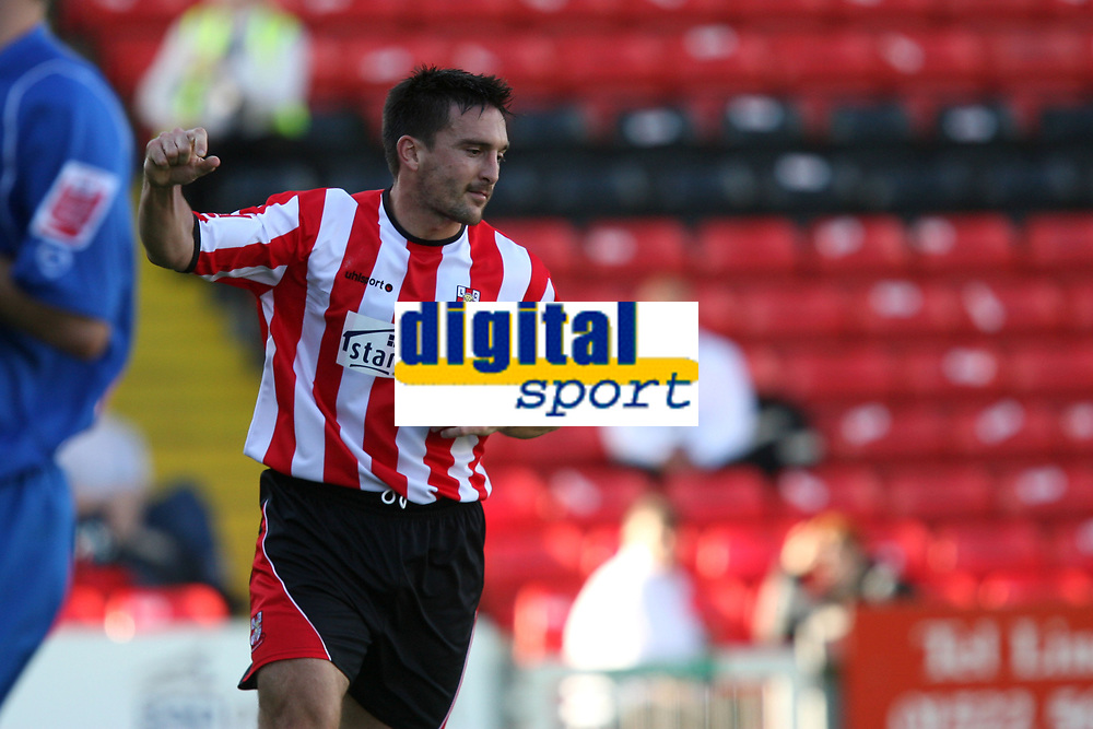 Photo: Pete Lorence.<br />Lincoln City v Rochdale United. Coca Cola League 2. 21/10/2006. <br />Mark Stallard celebrates his first goal of the match, helping the squad to a 7-1 victory.