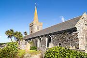 Spire of village parish church at St Keverne, Lizard Peninsula, Cornwall, England, UK