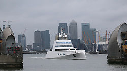 © Licensed to London News Pictures. 10/09/2016. The $300 million superyacht known as motoryacht A has departed the capital after a head-turning week long visit. The vessel, one of the most eyecatching and expensive yachts ever seen in London, departed under Tower Bridge at 0730. M/Y A was built for the Russian billionaire Andrey Melnichenko, known as the King of Bling, and designed by Philippe Starck. Credit : Rob Powell/LNP