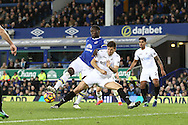 Romelu Lukaku of Everton sees his shot blocked by Federico Fernandez of Swansea City. Premier league match, Everton v Swansea city at Goodison Park in Liverpool, Merseyside on Saturday 19th November 2016.<br /> pic by Chris Stading, Andrew Orchard sports photography.