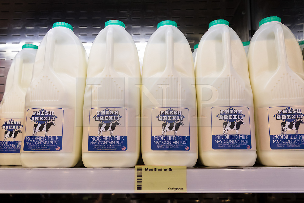 © Licensed to London News Pictures. 23/11/2018. London, UK.  'Fresh Brexit modified milk' on a shelf inside the People's Vote campaign stunt pop-up shop in Peckham High Street on Black Friday to show that the government's Brexit deal is a bad deal and the shop is stocked with household products, such as 'chlorinated' chicken to illustrate the bad deal. Photo credit: Vickie Flores/LNP