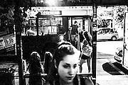 September 2015. Thessaloniki. Basiliki is waiting the bus at night.