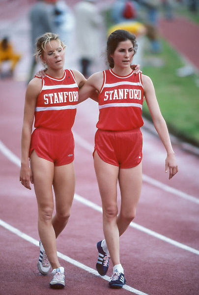 COLLEGE TRACK:  Ceci Hopp (L) and Kim Schnurpfeil after a race on the track in Stanford Stadium at Stanford University in Palo Alto, California in April 1982.  Photograph by David Madison (www.davidmadison.com)