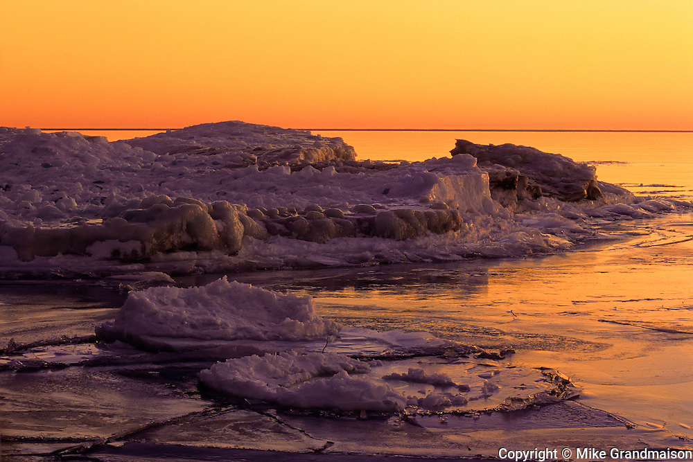 ice on Rocky shoreline of Lake Superior at Katherine Cove<br /> <br /> Ontario<br /> Canada