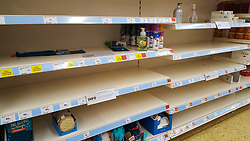 © Licensed to London News Pictures. 11/03/2020. London, UK. Sainsbury's store in London runs out of hand wash liquid and hand sanitiser amid an increased number of cases of Coronavirus (COVID-19) in the UK. Major supermarkets have started to ration certain products after shoppers began to stockpile. Six coronavirus victims have died and 373 cases have tested positive of the virus. Photo credit: Dinendra Haria/LNP