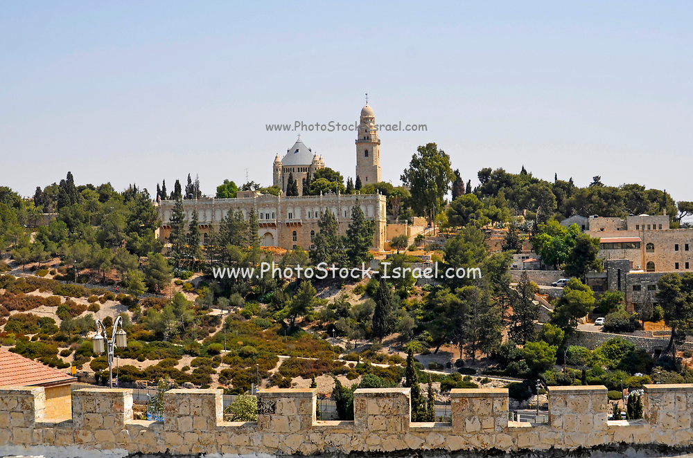 Israel Jerusalem, Hagia Maria Sion Abbey (formerly known as the Abbey of the Dormition of the Virgin Mary) as seen from Yemin Moshe Neighborhood