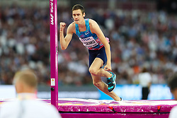 London, August 13 2017 . Danil Lysenko, Authorised Neutral Athlete, in the men's high jump final on day ten of the IAAF London 2017 world Championships at the London Stadium. © Paul Davey.