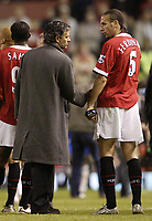 Photo Aidan Ellis, Digitalsport<br /> Manchester United v Chelsea.<br /> FA Barclays Premiership.<br /> 10/05/2005.<br /> Chelsea's Jose Mourinho chats to rio Ferdinand