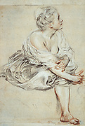 Seated woman turning to the right. Drawing in black and red chalk.   Jean-Antoine Watteau (1684-1721) French painter