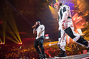Usher and Chris Brown performing at the iHeartRadio Music Festival in Las Vegas, Nevada on Sepembter 20, 2014.