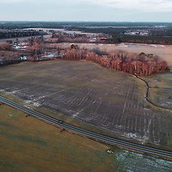 Drone view of Maryland Route 335 in Church Creek, Maryland. Spring.