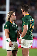 Faf de Klerk of South Africa speaks with Handre Pollard of South Africa during the Rugby World Cup  final match between England and South Africa at the International Stadium ,  Saturday, Nov. 2, 2019, in Yokohama, Japan. South Africa defeated England 32-12. (Florencia Tan Jun/ESPA-Image of Sport)