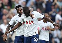 Football - 2019 / 2020 Premier League - Tottenham Hotspur vs. Aston Villa<br /> <br /> Tottenham Hotspur's Tanguy Ndombele (28) celebrates scoring his side's equalising goal with Danny Rose to make the score 1-1, at The Tottenham Hotspur Stadium.<br /> <br /> COLORSPORT/ASHLEY WESTERN