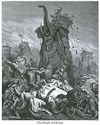 The Death of Eleazar [I Maccabees 6:43, 46] From the book 'Bible Gallery' Illustrated by Gustave Dore with Memoir of Dore and Descriptive Letter-press by Talbot W. Chambers D.D. Published by Cassell & Company Limited in London and simultaneously by Mame in Tours, France in 1866