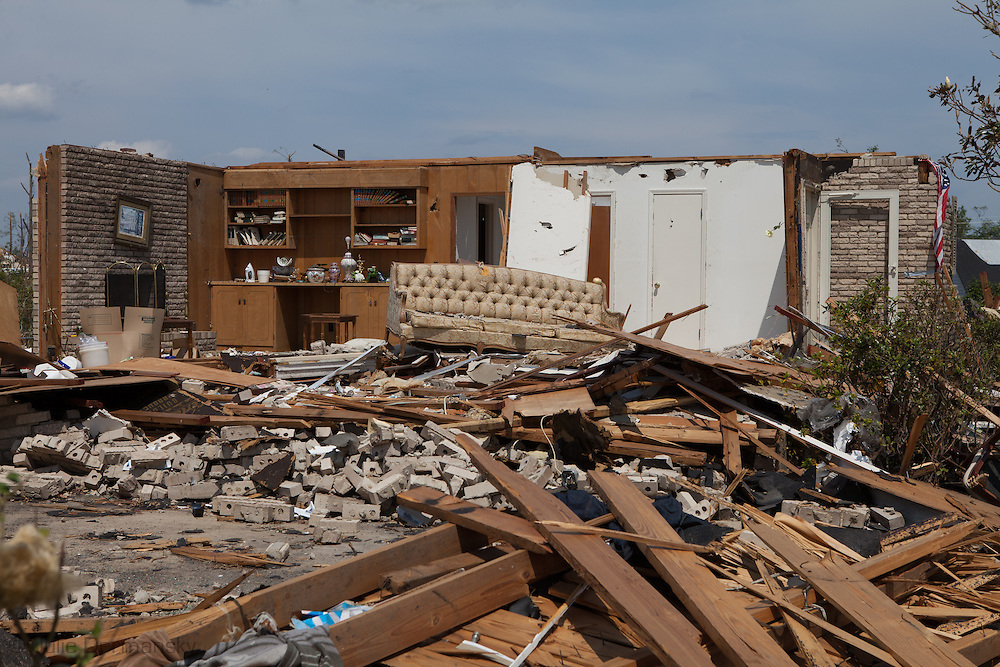 a house stripped of its walls in Tuscaloosa Alabama after Tornados destroyed miles of property.2011-05-12