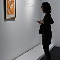 "BRESCIA, ITALY - FEBRUARY 11:  A visitor admires ""Danzatrice Acrobatica"" by Matisse at the  Santa Giulia Museum on February 11, 2011 in Brescia, Italy. The exhibition ""Matisse La Seduzione di Michelangelo"" shows  180 works of the French artist and will stay open until June 12th 2011"