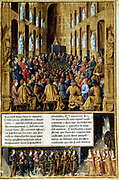 Pope Urban II presiding over the Council of Clermont, France, 1095 (c1490). Urban II (c1035-1099), Pope from 1088-1099, preaching the First Crusade to assembled knights, noblemen and cardinals. From 'Le Passage faits outremer ...'  (Journeys to Palestine ...)' Manuscript illuminated by Sebastien Mamerot c1490. Bibliotheque Nationale, Paris.