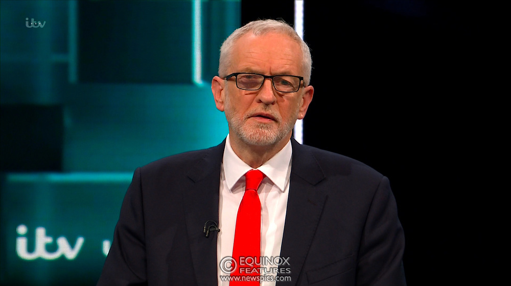 Broadcast TV, United Kingdom - 19 November 2019<br /> Labour leader Jeremy Corbyn and Prime Minister Boris Johnson debate live on ITV tonight as part of the 2019 general election campaign.<br /> (supplied by: Supplied by: EQUINOXFEATURES.COM)<br /> Picture Data:<br /> Contact: Equinox Features<br /> Date Taken: 20191119<br /> Time Taken: 212819<br /> www.newspics.com