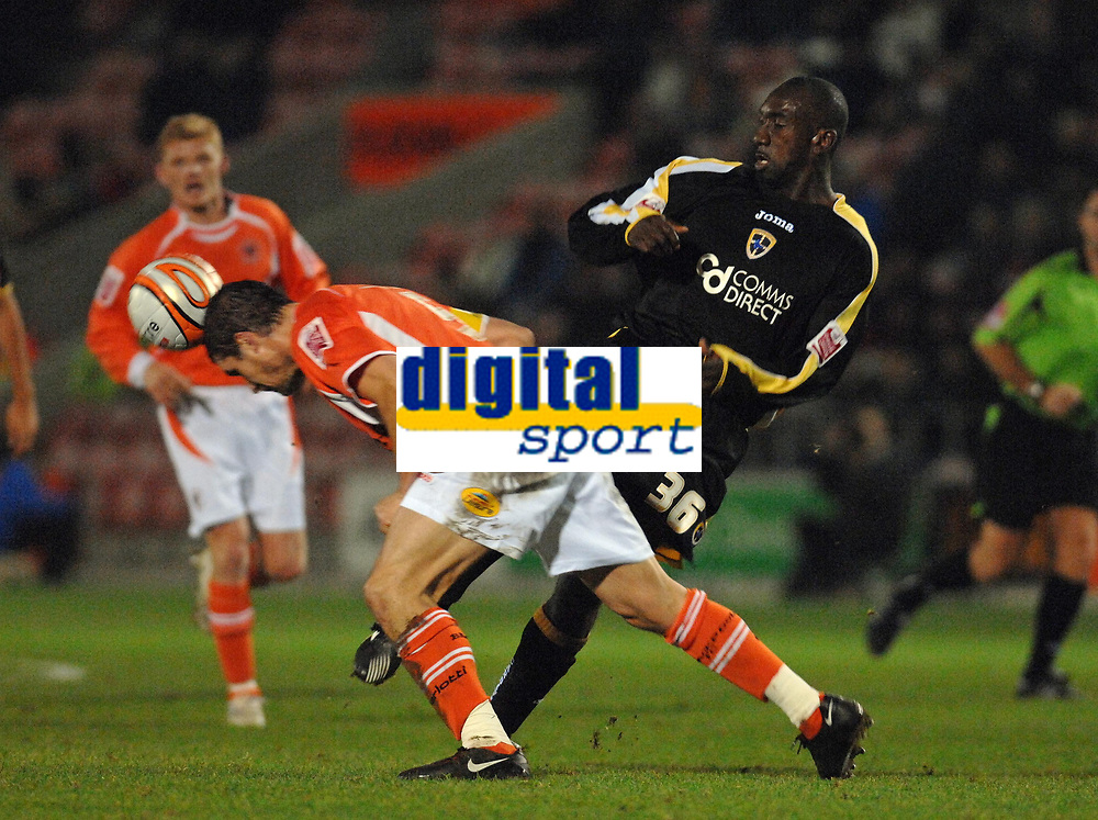 MATTHEW POVER PICTURE                                                +447971 184305<br /> <br /> 11/12/07 .... Blackpool v Cardiff<br /> Cardiff's Jimmy Floyd Hasselbaink tussles with Blackpool's Michael Jackson.