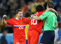 Igor Semshov of Russia (20) celebrates with Yuri Zhirkov of Russia (18) and Goalkeeper of Russia Igor Akinfeev of Russia (1) after the UEFA EURO 2008 Group D soccer match between Sweden and Russia at Stadion Tivoli NEU, on June 18,2008, in Innsbruck, Austria. Russia won 2:0. (Photo by Vid Ponikvar / Sportal Images)