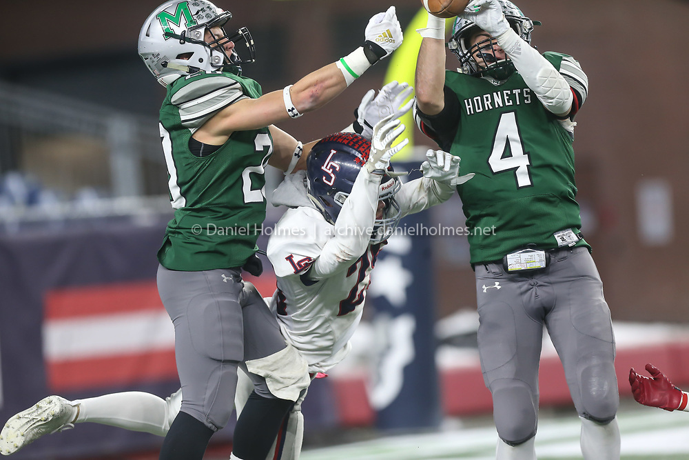 (12/6/19, FOXBOROUGH, MA) The pass to Lincoln-Sudbury's Griffin Brown is broken up during the Division 2 Super Bowl against Mansfield at Gillette Stadium in Foxborough on Friday. [Daily News and Wicked Local Photo/Dan Holmes]