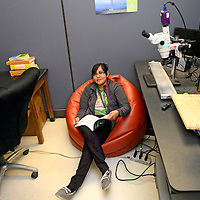 """041114  Adron Gardner/Independent<br /> <br /> Malanie Begay, 2013-2014 NTU Student of the Year, poses for a portrait in an office at Navajo Technical University in Crownpoint Friday.  """"This is where I spend a lot of my time,"""" Begay said. """"It's been a lot of work."""""""