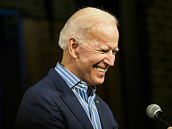 May 1, 2019 - Des Moines, Iowa, U.S - Vice President JOE BIDEN looks at the crowd gathered for his campaign rally in Des Moines Wednesday night. Biden is running to be the Democratic nominee for the US Presidency in 2020. He is campaigning in Iowa City and Des Moines today. Iowa traditionally hosts the the first selection event of the presidential election cycle. The Iowa Caucuses will be on Feb. 3, 2020. (Credit Image: © Jack Kurtz/ZUMA Wire)