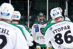 Matija Pintaric (HDD Tilia Olimpija, #69) celebrate his shutout during ice-hockey match between HDD Tilia Olimpija and EHC Liwest Black Wings Linz in 37th Round of EBEL league, on Januar 9, 2011 at Hala Tivoli, Ljubljana, Slovenia. (Photo By Matic Klansek Velej / Sportida.com)