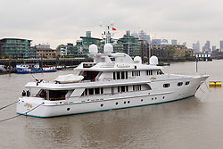 © Licensed to London News Pictures. 16/05/2018. London, UK. Superyacht, Lady M II is seen anchored on the River Thames, after arriving yesterday and shortly before passing under Tower Bridge this morning. The 164 feet long superyacht, Lady M II (previously named Lady M) is rumoured to be owned by politician and businessman, Lord Ashcroft. A different superyacht, called Lady M visited Glasgow and Cumbria last year and was reported to be owned by Russia's richest Billionaire, Alexi Mordashov. Lady M II sleeps up to 11 guests in 6 rooms and is also capable of carrying up to 12 crew onboard. Lady M II was designed by Donald Starkeywith various luxuries onboard, including a deck jacuzzi and is advertised for charter at USD180,000 per week plus expenses. Photo credit: Vickie Flores/LNP