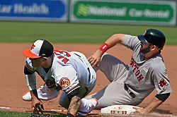 June 4, 2017 - Baltimore, MD, USA - Baltimore Orioles' Manny Machado, left, is unable to catch a wild throw from catcher Francisco Pena trying to pick off Boston Red Sox's Mitch Moreland in the sixth inning on Sunday, June 4, 2017 at Oriole Park at Camden Yards in Baltimore, Md. The throwing error allowed the Red Sox to score two go-ahead runs. (Credit Image: © Kenneth K. Lam/TNS via ZUMA Wire)
