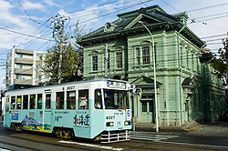 Historic preserved wooden building and tram in Hakodate Hokkaido Japan