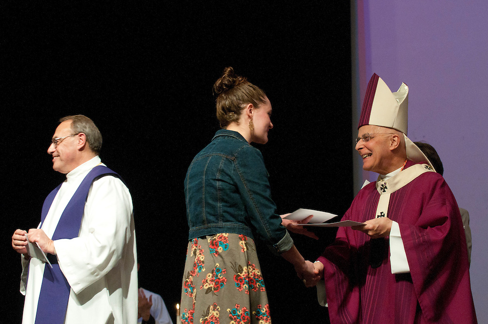 Chicago Archbishop Francis Cardinal George leads a Eucharistic Celebration during the annual Parish Leadership Day hosted at Mother McAuley Liberal Arts High School in Evergreen Park. © 2013 Brian J. Morowczynski ViaPhotos.<br /> <br /> For non-exclusive internal use by Mother McAuley High School, Evergreen Park, Il. Further use including paid placements and/or third party distribution may be negotiated separately. Contact ViaPhotos at 708-602-0449 or brian@viaphotos.com.