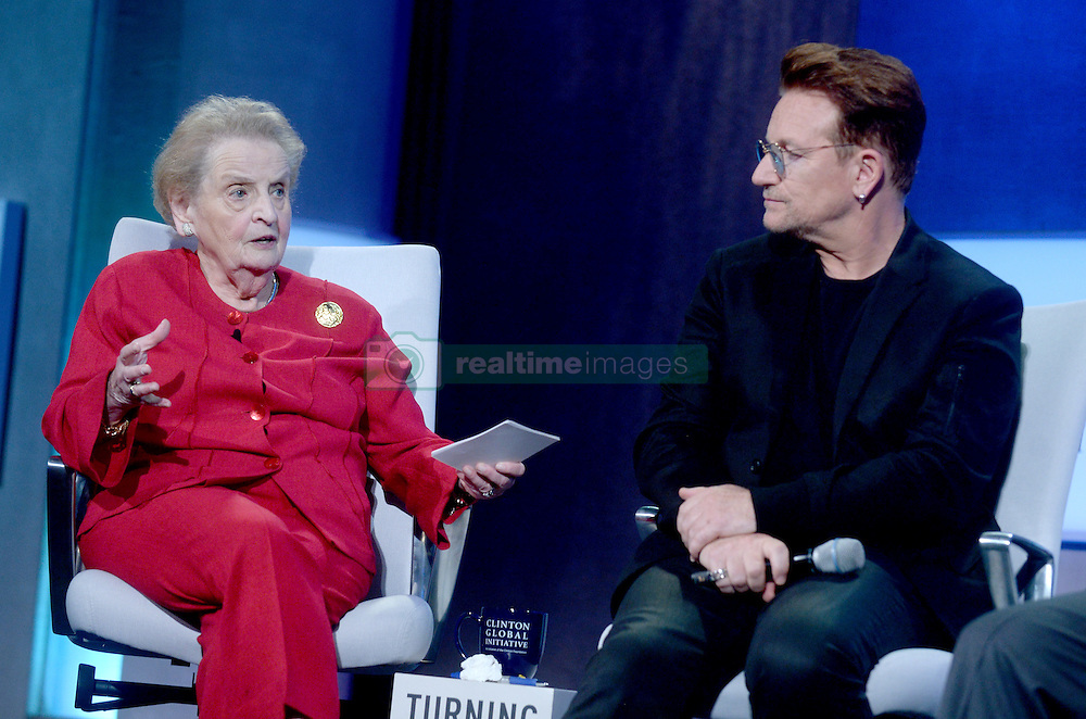 Madeleine Albright and Bono at the annual meeting of the Clinton Global Initiative (CGI) in New York City, NY, USA, on Monday, September 19, 2016. The annual CGI meetings bring together heads of state, leading CEOs, philanthropists, and members of the media to facilitate discussion and forward-thinking initiatives that challenge the way we impact the future. Photo by Dennis van Tine/ABACAPRESS.COM