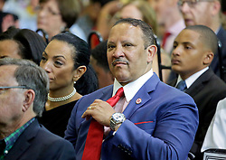 27 August 2015. Andrew P. Sanchez & Copelin-Byrd Multi Service Center, Lower 9th Ward, New orleans, Louisiana.<br /> Marc Morial, president of the National Urban League with his wife Michelle Miller awaiting remarks from President Barack Obama. <br /> Photo credit©; Charlie Varley/varleypix.com.
