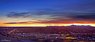 Overlooking the city of Great Falls Montana at dawn looking toward the Highwood Mountains