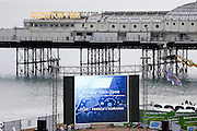 The scene is set for the Brighton Big Screen Events match, Madeira Drive, Brighton showing the Euro 2016 between France and Romania at Stade de France, Paris, France on 10 June 2016. Photo by Stuart Butcher.