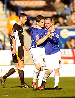 Photo: Leigh Quinnell.<br /> Leicester City v Hull FC. Coca Cola Championship. 04/03/2006. Leicesters Joey Gudjonsson congratulates Iain Hume on his goal.