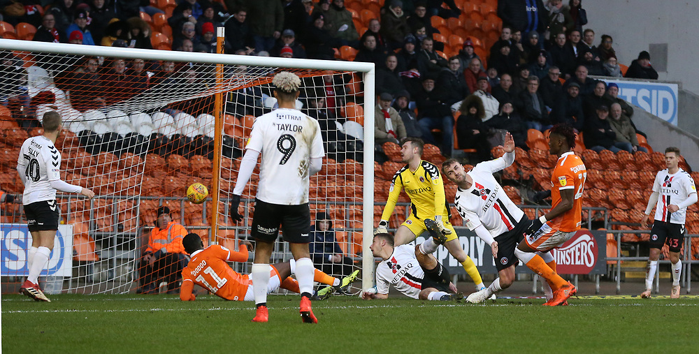 Blackpool's Armand Gnanduillet scores the opening goal <br /> <br /> Photographer Stephen White/CameraSport<br /> <br /> The EFL Sky Bet League One - Blackpool v Charlton Athletic - Saturday 8th December 2018 - Bloomfield Road - Blackpool<br /> <br /> World Copyright © 2018 CameraSport. All rights reserved. 43 Linden Ave. Countesthorpe. Leicester. England. LE8 5PG - Tel: +44 (0) 116 277 4147 - admin@camerasport.com - www.camerasport.com