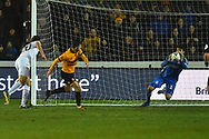 Dimitrios Konstantopoulos (1) of Middlesbrough makes a save from Padraig Amond (9) of Newport County during the The FA Cup match between Newport County and Middlesbrough at Rodney Parade, Newport, Wales on 5 February 2019.