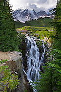 Myrtle Falls and Mount Rainier in Mount Rainier National Park, Washington State, USA.