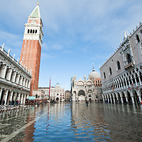 A general view of St Mark Square with  Palazzo Ducale  during seasonal High Tide. A few days of exceptional high tides up to 120cm are expected during the next few days meaning 30% of Venice will be under water San Marco is one of the six sestieri of Venice, lying in the heart of the city.