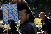Zim from Black Shadow doing his hair in Harajuku, Yoyogi park, Tokyo, Japan 2009
