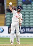 Alastair Cook of Essex celebrates as the teams shake hands for a draw and Essex win the County Championship during the Specsavers County Champ Div 1 match between Somerset County Cricket Club and Essex County Cricket Club at the Cooper Associates County Ground, Taunton, United Kingdom on 26 September 2019.