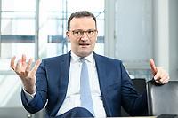 05 MAY 2021, BERLIN/GERMANY:<br /> Jens Spahn, CDU, Bundesgesundheitsminister, wahrend einem Interview, in seinem Buero, Bundesministerium fur Gesundheit<br /> IMAGE: 202105005-01-020