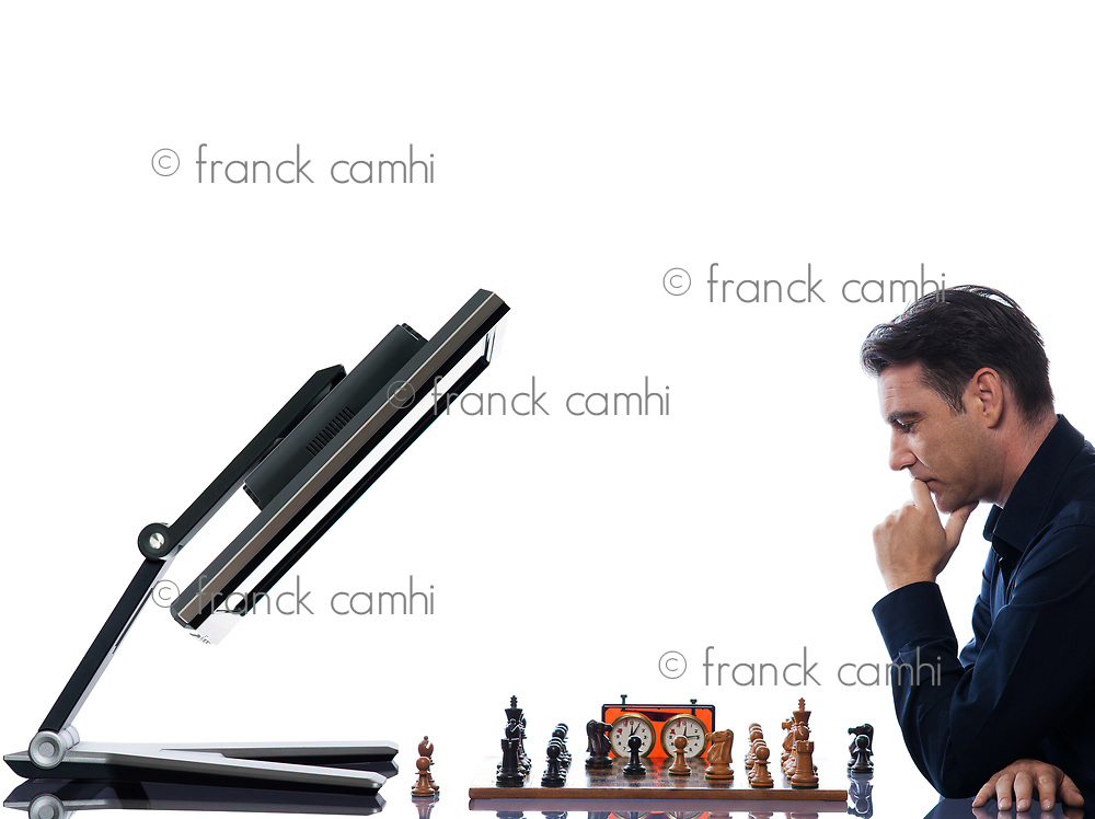 caucasian man playing chess with computer reflective  concept on isolated white background