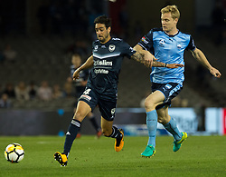 October 7, 2017 - Melbourne, Victoria, Australia - Rhys Williams (#4) of Melbourne Victory and Matt Simon (#18) of Sydney FC in action during the round 1 match between Melbourne Victory and Sydney FC at Etihad Stadium in Melbourne, Australia during the 2017/2018 Australian A-League season. (Credit Image: © Theo Karanikos via ZUMA Wire)