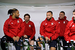 CARDIFF, WALES - Sunday, October 14, 2018: Wales' captain Ashley Williams (L) and Ashley 'Jazz' Richards during a training session at the Vale Resort ahead of the UEFA Nations League Group Stage League B Group 4 match between Republic of Ireland and Wales. (Pic by David Rawcliffe/Propaganda)